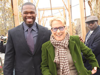 50 Cent and Bette Midler at community garden opening in Jamaica, Queens