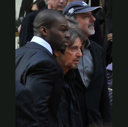 50 Cent and Al Pacino at a Righteous Kill promotion in the UK