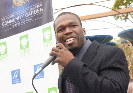 50 Cent speaks at community garden opening in Jamaica, Queens