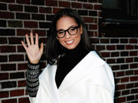Alicia Keys waves outside the Ed Sullivan Theater