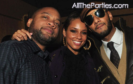 Alicia Keys, Kerry Brothers, and Swizz Beatz at M2 Element of Freedom release party