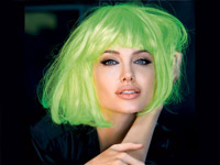 Angelina Jolie in green wig