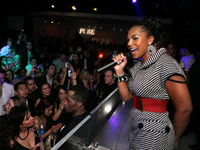Ashanti on stage at Pure Nightclub
