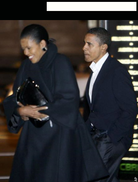 Barack and Michelle Obama walk into Spiaggia on date night