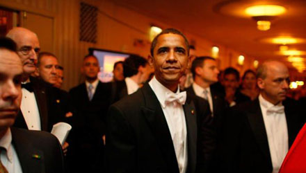 Barack Obama in lobby at the Al Smith dinner