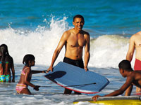 Barack Obama on the beach in Hawaii