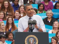 Barack Obama at campaign event in Fairfax, Virginia