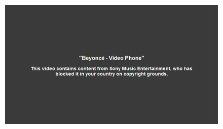 YouTube message about Beyonce's blocked video channel