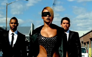 Beyonce in a black mask, scene from video phone music video