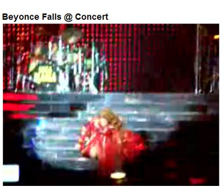 Beyonce Falls on stage - screen capture