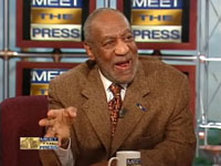 Bill Cosby wearing a brown tweed jacket on Meet the Press