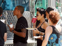 Chris Brown and Rihanna get food from snack truck on Bone Deep set