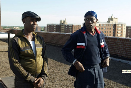 Don Cheadle and Wesley Snipes on project roof - Brooklyn's Finest