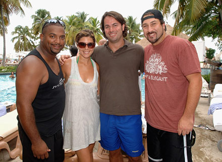 Alfonso Riberio, Jamie-Lynn Sigler, and Joey Fatone at Brother Jimmy's pool party in Puerto Rico