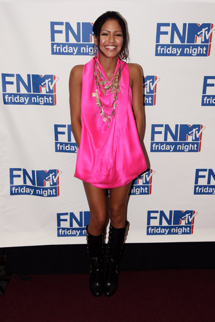 Cassie in pink and boots at FNMTV