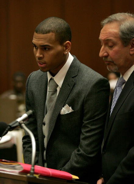 Chris Brown in Los Angeles courtroom with his attorney