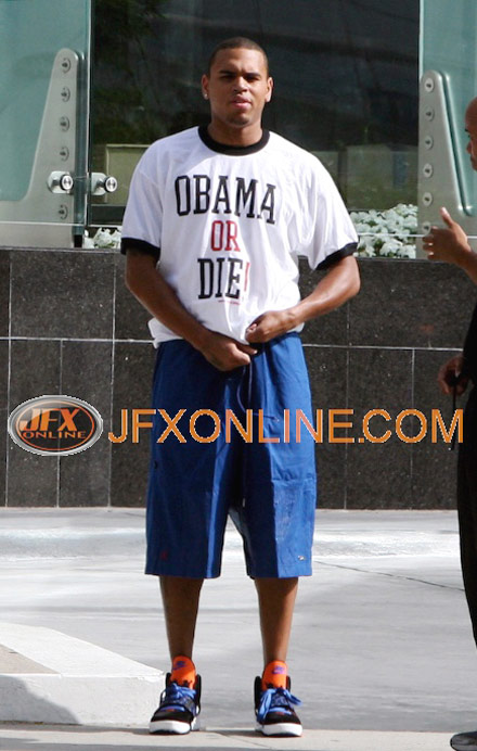Chris Brown rocks a Barack or Die t-shirt in Beverly Hills