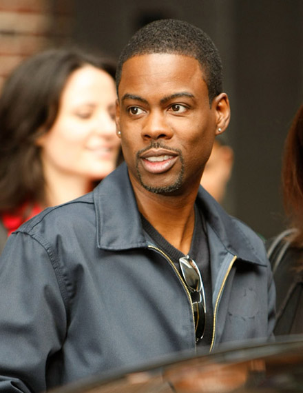 Chris Rock outside the Ed Sullivan Theatre