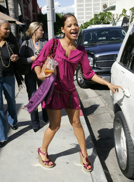 Christina Milian hits the gas station