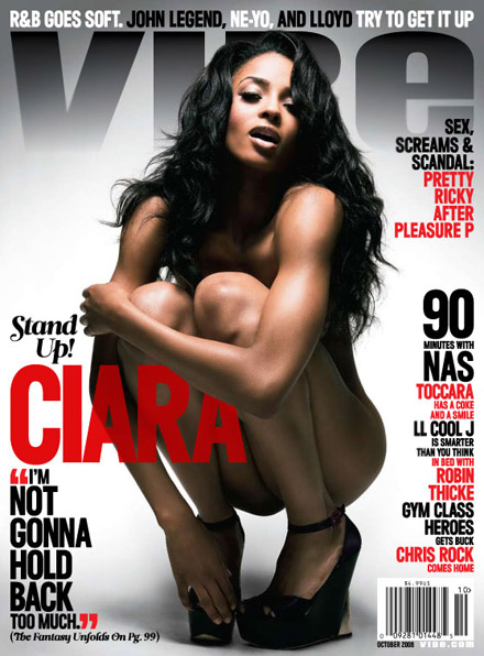 Ciara squatting on the cover of Vibe magazine