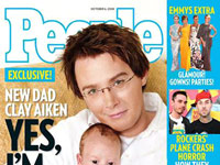 Clay Aiken holding his son Parker on the cover of People magazine - Yes, I'm Gay