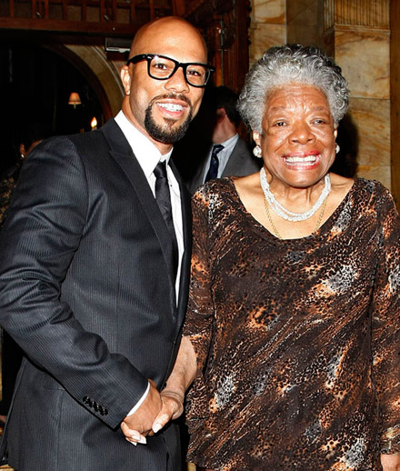 Common and a big smile from Maya Angelou at The Friars Club