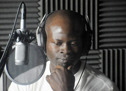 Djimon Hounsou in the studio, voicing the black panther