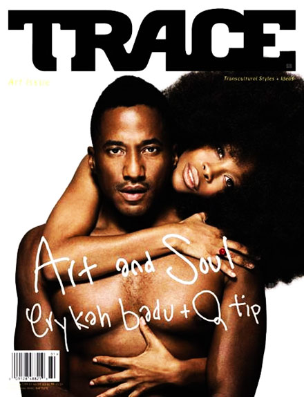 Erykah Badu and Q-Tip on the cover of Trace magazine