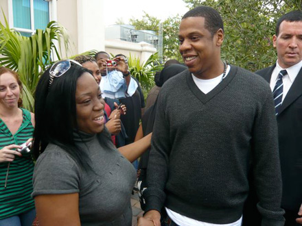 Jay-Z greets voter on voting line in Florida