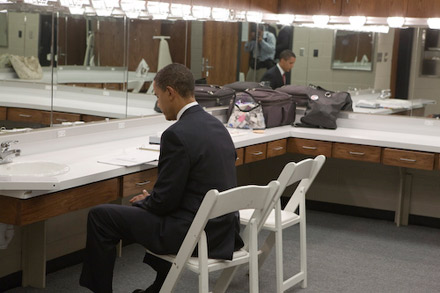 Barack Obama studying before the debate