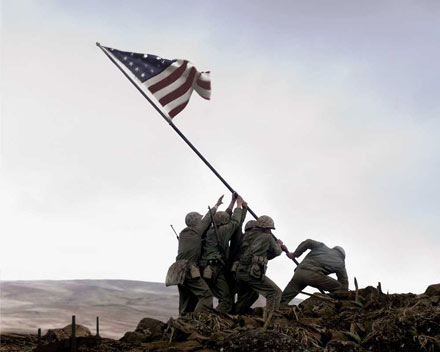 Soldiers raise the flag in Flags of our Fathers