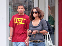 Halle Berry and nephew(?) leaving the movies