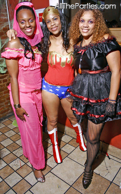 Halloween at Brooklyn's NY Perks - Genie, Wonder Woman, a sexy maid