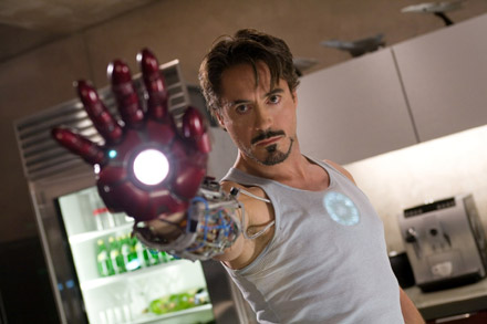 Robert Downey Jr. perfects his suit in Iron Man