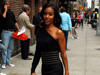 Jada Pinkett-Smith outside the Ed Sullivan theatre