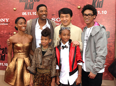 Will and Jada Pinkett-Smith, Jaden, Willow, Trey and Jackie Chan at Karate Kid premiere