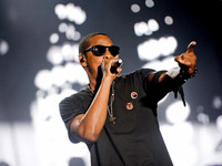 Jay-Z, all black everything, performing at 2010 Bonarroo music festival