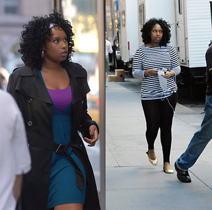 Jennifer Hudson on the Sex in the City set