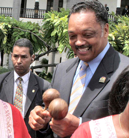 Jesse Jackson having fun with maracas