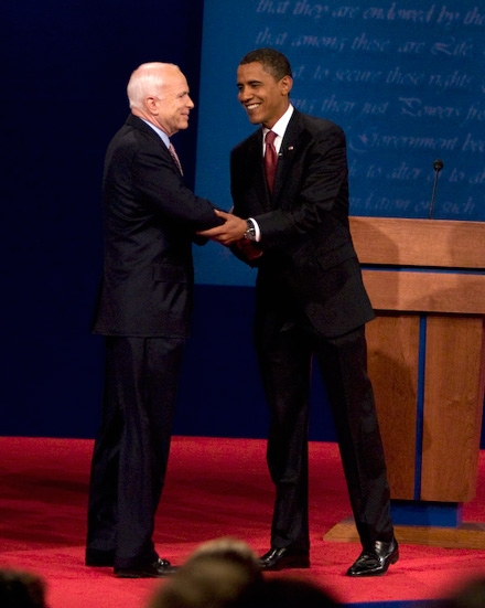 John McCain and Barack Obama in first debate