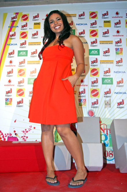 Jordin Sparks in orange dress at Kids Choice Awards