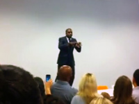 Kanye West freestyling on table at Facebook in Cafe 6