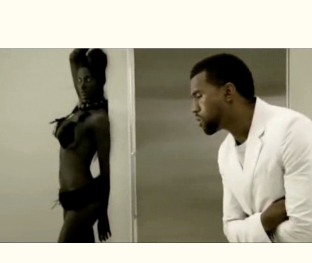 Kanye West in Love Lockdown video.. with a ghoul in the room