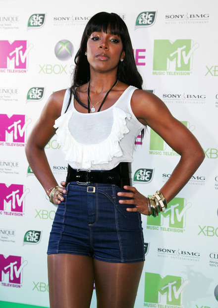 Kelly Rowland in jean shorts and dance stockings at MTV's X-Box party