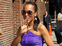 Kerry Washington in purple blouse and black skirt  - The David Letterman Show