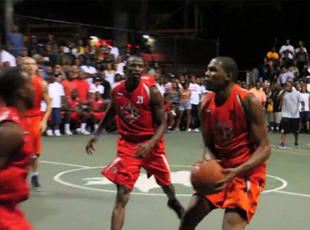 Kevin Durant taking a jumpshot in Rucker park