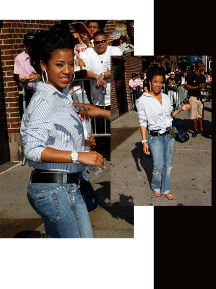 Keyshia Cole in jeans and striped shit, leaving The David Letterman Show
