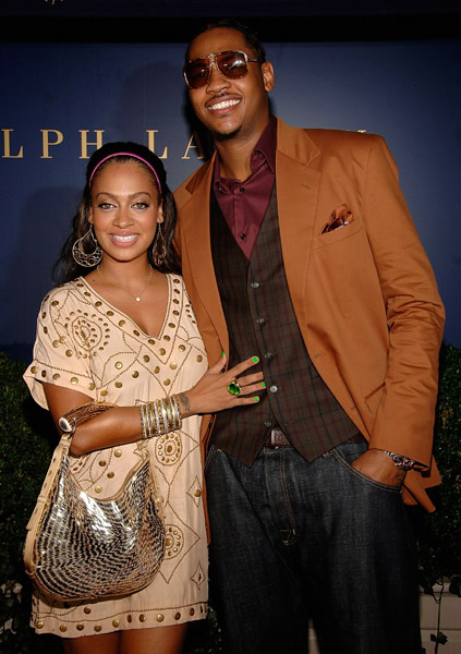 Lala and Carmelo Anthony at Lebron James Family Foundation cocktail party