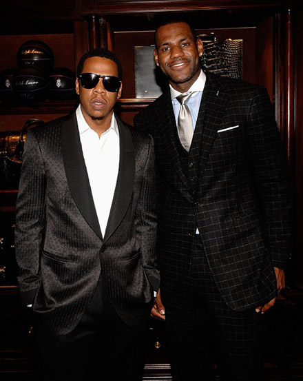 Jay-Z and Lebron James at Lebron James Family Foundation cocktail party