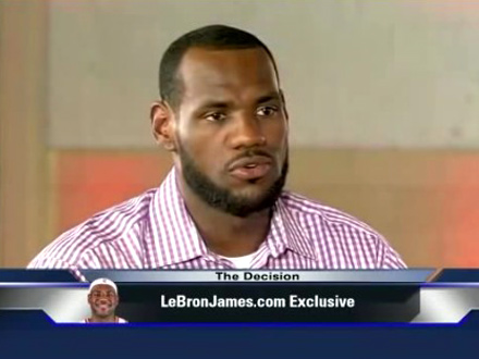 Lebron James in a striped purple shirt set for The Decision